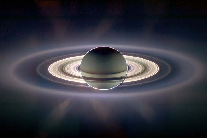 Using NASA's public libraries, a Canadian illustrator and visual effects artist produces a stunning trip through our solar system and beyond. This is Saturn, as seen from the Cassini spacecraft orbiting the giant planet. Lucas Green included a similar image in his video.