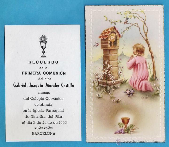 estampa / recordatorio comunion - gabriel joaquin morales castillo - barcelona - año 1956 - rd1 (Postales - Religiosas y Recordatorios)