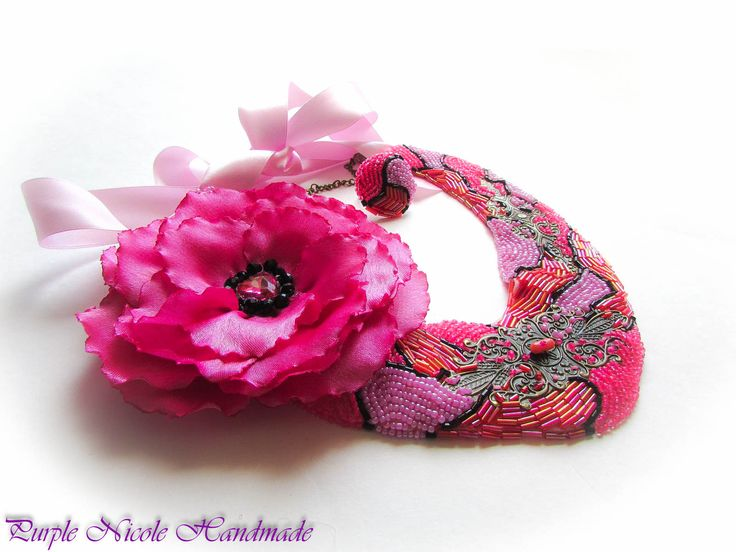 Fuchsia Summer Dream - Handmade Statement Necklace made by Purple Nicole (Nicole Cea Mov) inspired by the summer nights. Materials: 2 mm seed beads (pink, fuchsia), bronze accessories, handmade satin flower, satin pink ribbon, felt.
