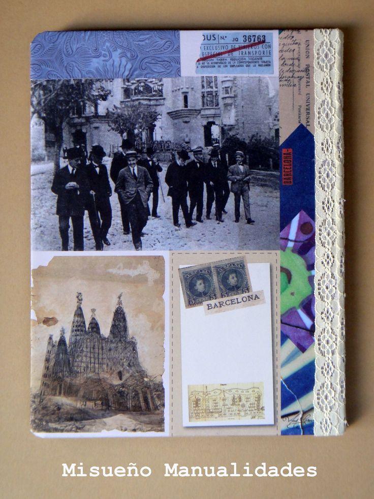 """Tapa trasera de una libreta grande forrada a mano con papel scrap """"Gaudí"""", a la venta en la tienda física y la tienda online (www.misuenyo.com).  www.misuenyo.com / www.misuenyo.es"""