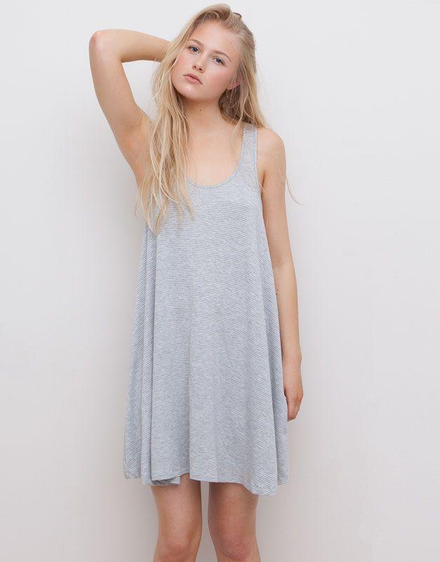 Pull&Bear - dames - pacific girls - jurk met strepenprint en laag uitgesneden rug - vigo grijs - 05392363-V2015
