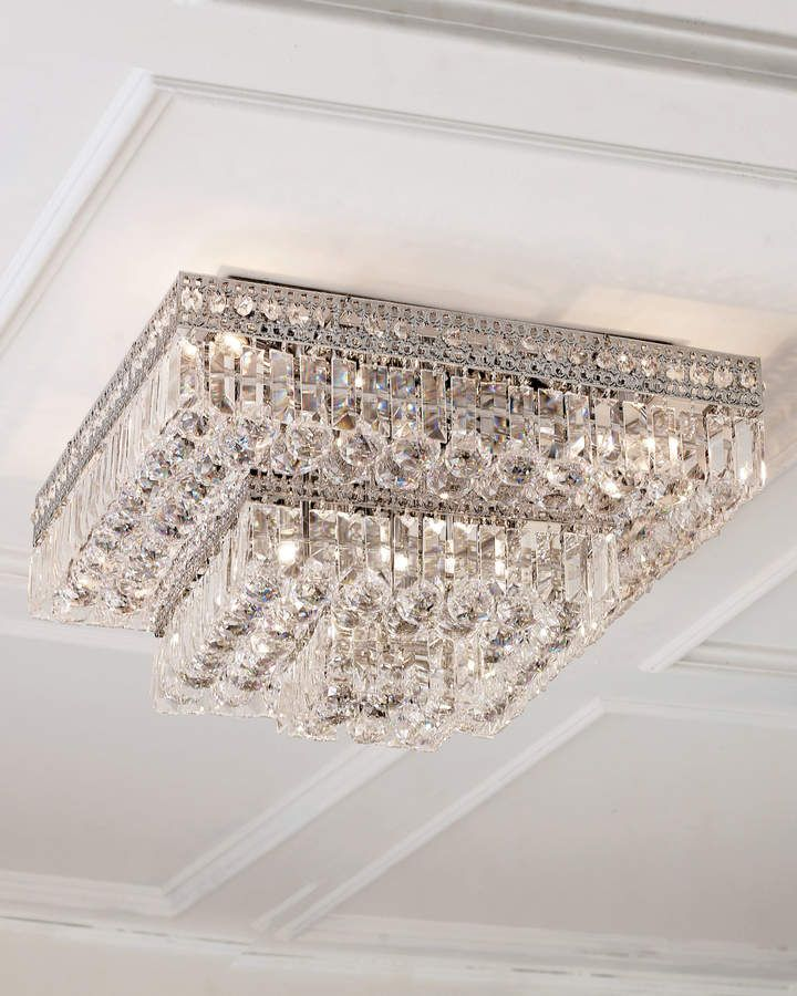 Eight Light Crystal Flush Mount Ceiling Fixture Led Ceiling