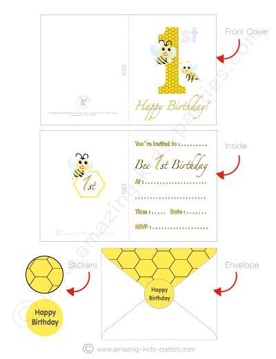 FREE Bee 1st Birthday Card