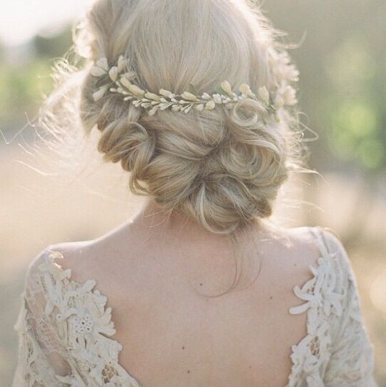 Bridal Updo Inspiration with Gold Headpiece #weddinghair #updo | Photo by Kurt Boomer