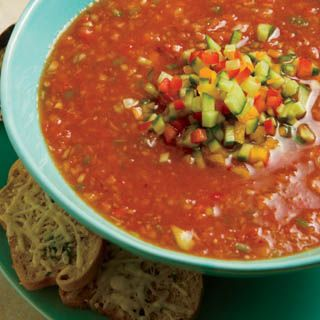 Gazpacho Recipe | Nutrition Facts (per serving): Calories – 73, Fat – 0.5g, Dietary Fiber – 3.3g, Protein – 3.2g, Vitamin A – 23%, Vitamin C – 192%, Iron – 18%