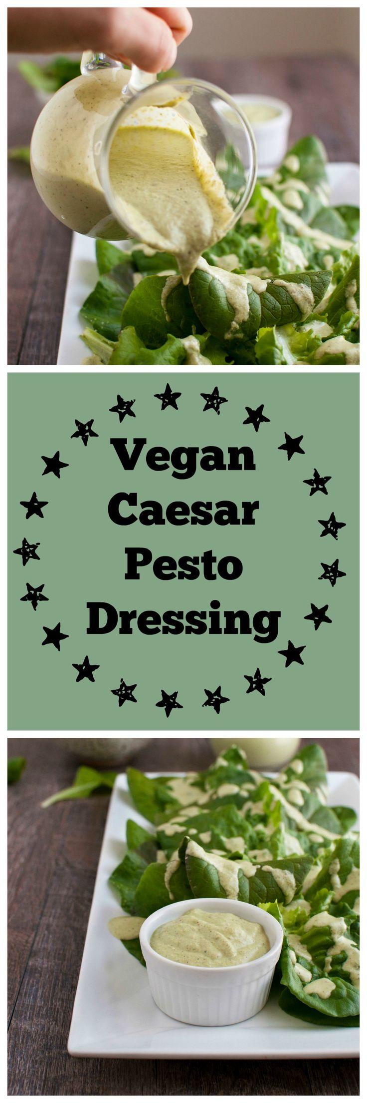 vegan caesar pesto dressing made with clean ingredients.