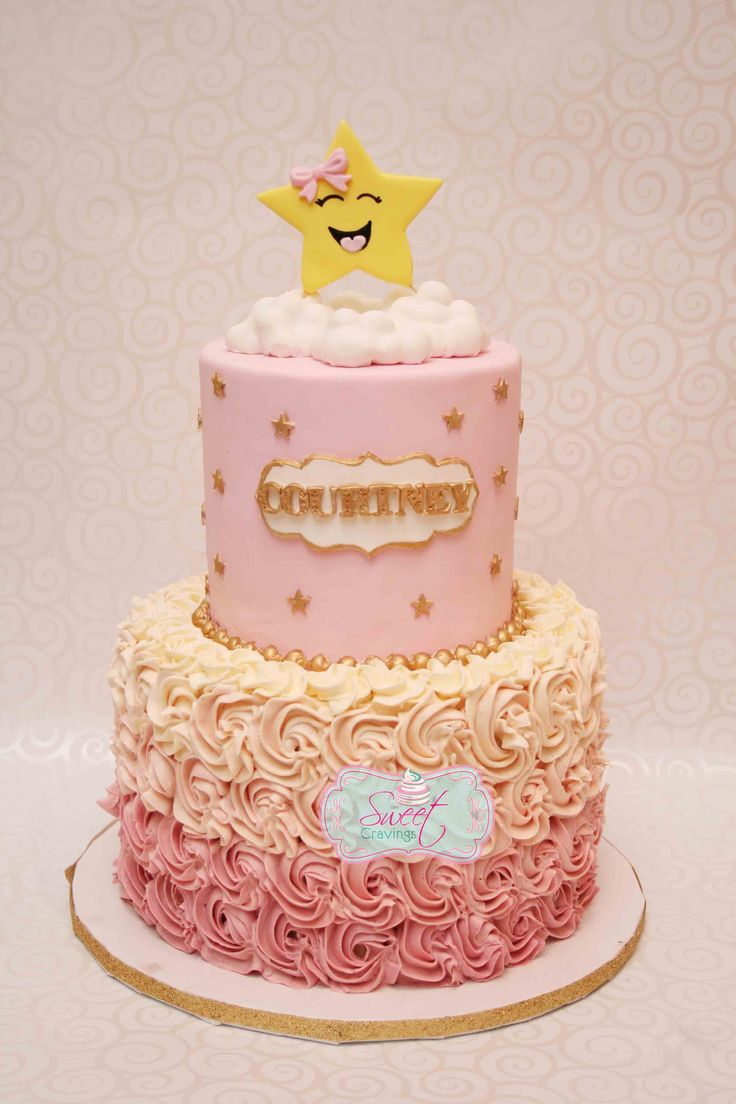 gold and pink star cake twinkle twinkle little star http://www.facebook.com/sweetcravingstoronto