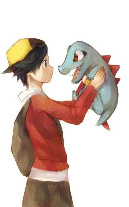 trainer and totodile, cute!