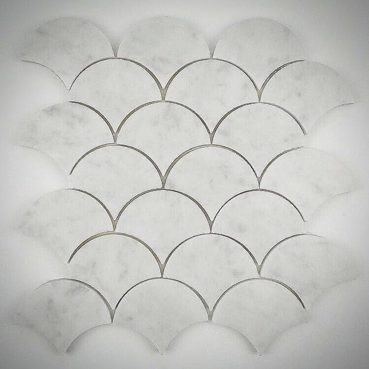 Venato Carrara Marble Fish Scale Fan Mosaic Floor & Wall Tile