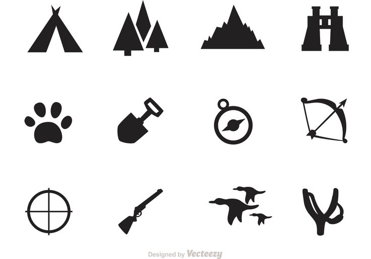 Set of camping and hunting icons, includes camping icons, forrest, slingshot, compass, gun and more