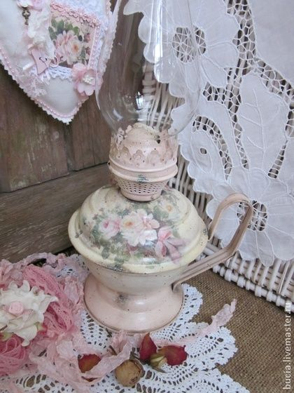 """Керосиновая лампа """"В розовой дымке.."""" - бледно-розовый,керосиновая лампа"""