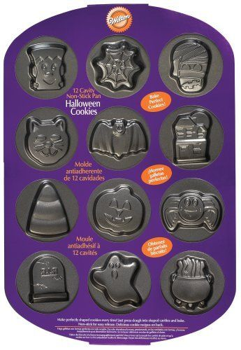 Wilton 12 Cavity Halloween Cookie Pan by Wilton, http://www.amazon.com/dp/B001U0OMQ2/ref=cm_sw_r_pi_dp_lJ2uqb1S6XZSS
