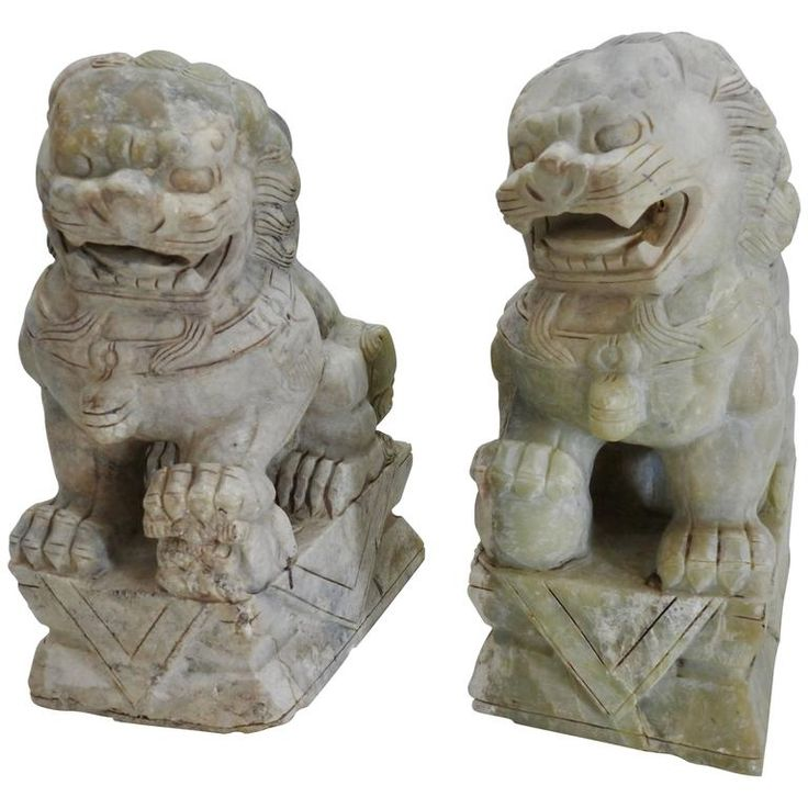 Early 20th Century Pair of Alabaster Guardian Foo Dog Lions | From a unique collection of antique and modern sculptures at https://www.1stdibs.com/furniture/decorative-objects/sculptures/