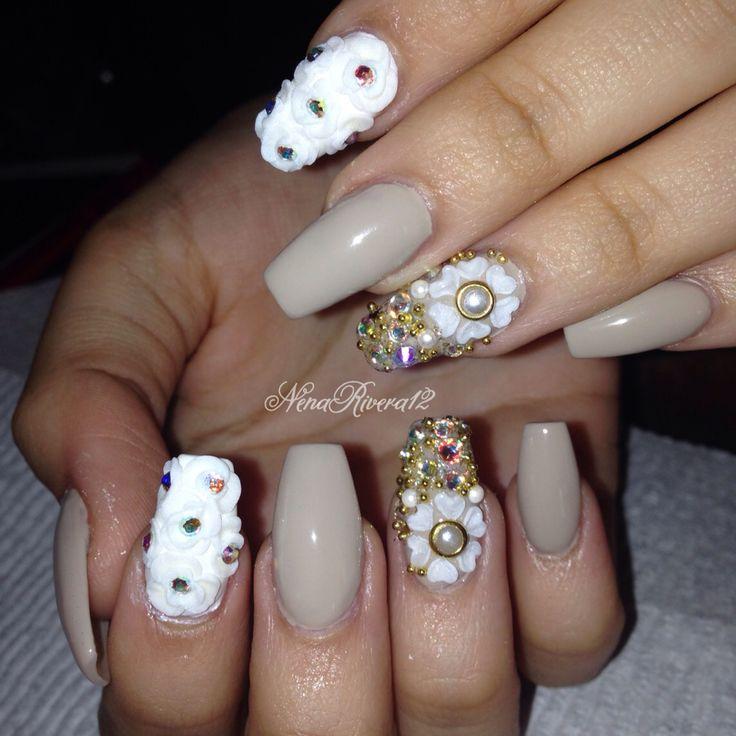 Cute flower/ bling nails