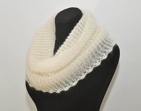 White infinity scarf knit mohair cowl knit circle scarf hand knit white cowl mohair scarf warm mohair cream cowl winter scarves white scarf  ! This listing - sold only a scarf, pin sold separately.  >Color: white  >Material: kid mohair/polyamide  >Dimensions: width ~ 14 inches ( ~ 35 cm ) length ~ 19 inches ( ~ 48 cm )  >Care: gentle care, hand wash in warm water with mild soap, press into dry towel, lie flat to dry. Do not iron! ----------------------------------------------...