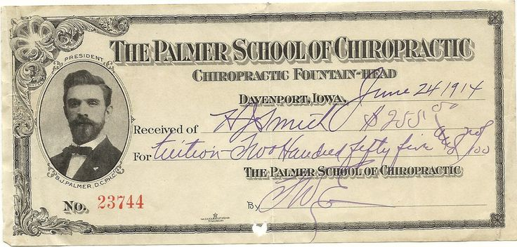 Palmer School of #Chiropractic - receipt for tuition