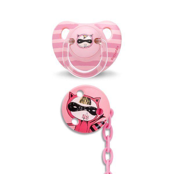 SUAVINEX ŠIDÍTKO anatomické +6m latex růžová kočka   Kašpárek Baby