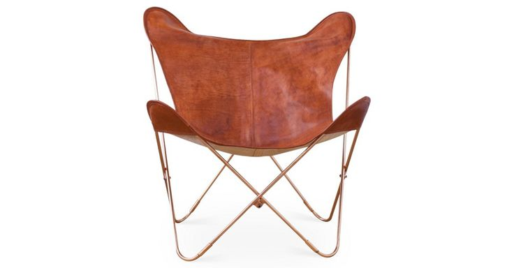 Masterfully dyed, stitched, and stamped by hand, the supple vegetable-tanned leather on this classic butterfly chair forms a pleasing patina with the passing of time. Set atop copper hairpin legs....