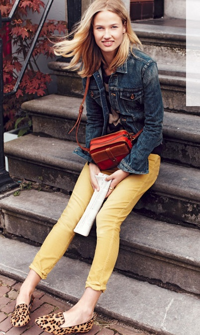 yellow skinny jeans- I'm not sure I'm brave enough.  They are super cute though!