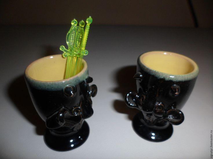 Купить стаканчики для канапе винтаж - черный, фарфоровая статуэтка, винтаж, подарок, керамическая посуда, керамика