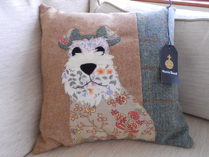 Dog cushion  Pattern from Woman's Weekly magazine.  I bought the Harris Tweed on the Internet, it comes with labels!