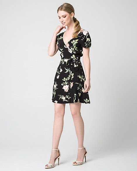 Floral+Print+Viscose+Crêpe+Faux+Wrap+Dress