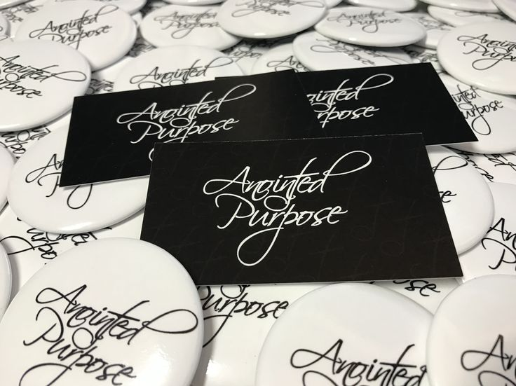 Custom Round Buttons and Business Cards for Anointed Purpose, a gospel group in Shelby, North Carolina. Contact us today to get your custom designs and promo merch! #bluecrater