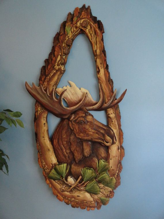 Carved and painted Moose and Chickadee in pines by NaturePauses, $850.00