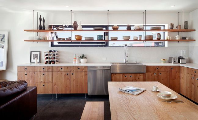 open shelves instead of cabinets in kitchen