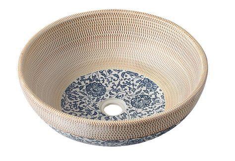 Waschschale Waschbecken rund Keramik Waschtisch PRIORI 42x15 beige Muster blau