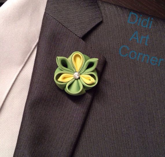 Green and Yellow Kanzashi Inspired Flower Lapel by DidiArtCorner