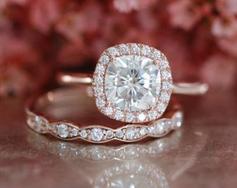 Forever One Moissanite Engagement Ring and by LaMoreDesign on Etsy