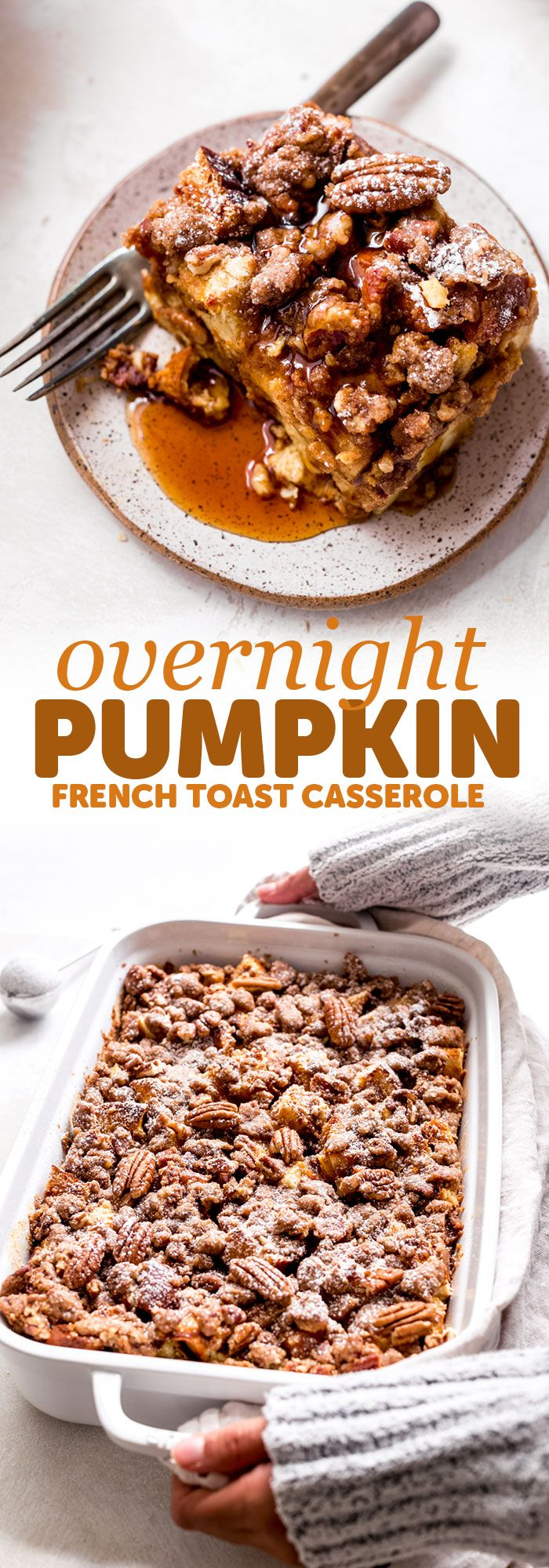 Pumpkin French Toast Casserole - This recipe is super friendly to make ahead of time and perfect for entertaining brunch guests of for Saturday mornin...