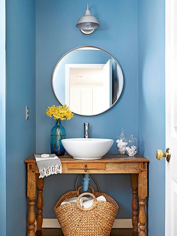create a unique powder room with a table turned vanity + vessel sink