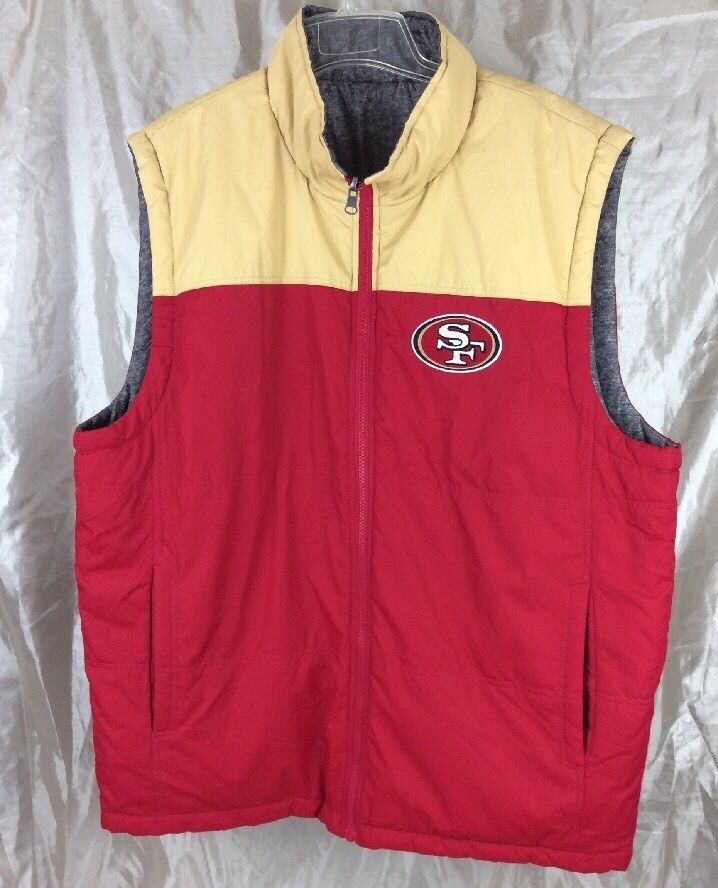 NFL San Francisco 49ers Reversible Puffer Vest G-lll Men's Size XL Red & Gold #GIII #SanFrancisco49ers