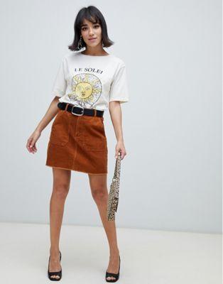 a8bd4e66c41c49 Stradivarius cord mini skirt in brown in 2019   Shopping   Mini ...