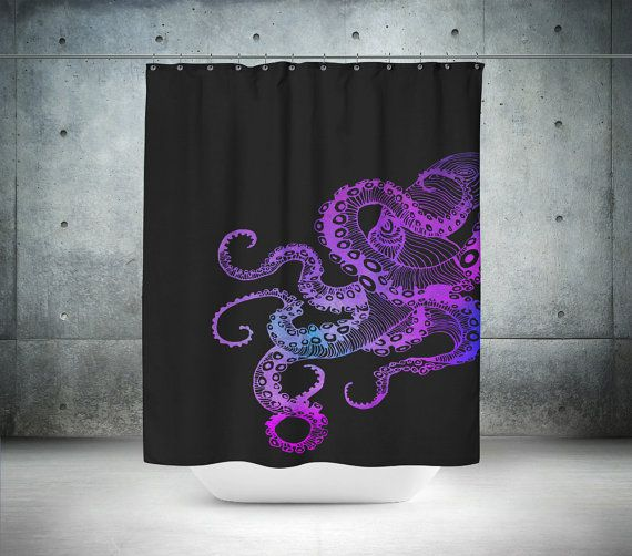 1000 ideas about octopus shower curtains on pinterest octopus decor octopus and octopus bathroom Purple and black bathroom ideas