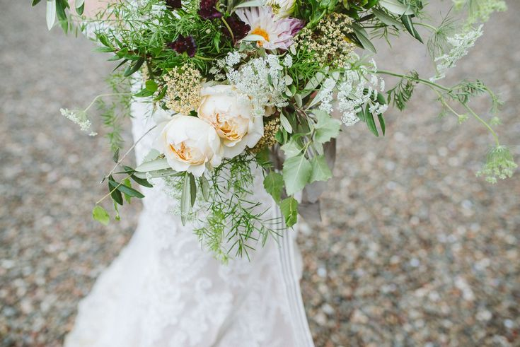 Lush green wedding bouquet, greenery and peonies, wedding flowers, by Tupelo Tree, photo by Glitter & Twigs.