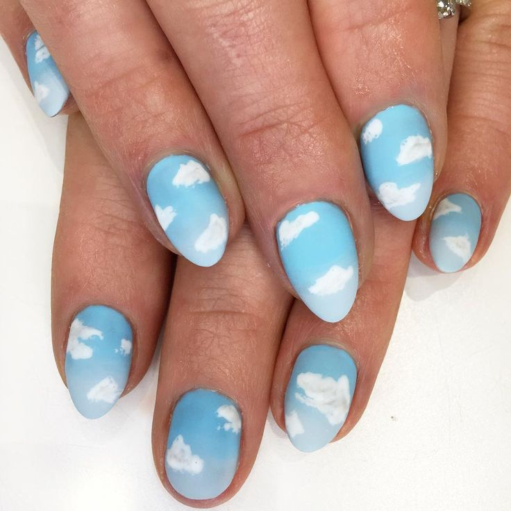 Nail art - Cute little white clouds on white nails