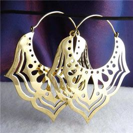 Jali Lotus Brass Creole Earrings #silversari