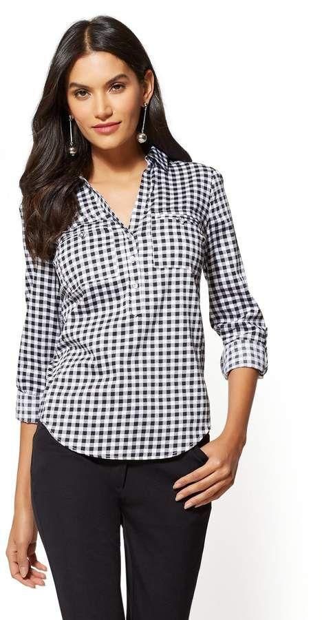 3799cc46d672 New York   Company 7th Avenue - Petite Madison Popover Stretch Shirt ...