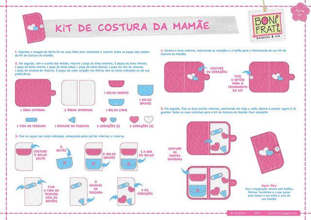 Kit de Costura da Mamãe - Parte 02 (PAP com molde) by BoniFrati ® bonifrati.com.br, via Flickr: Estojo Costura, Felt Crafts, Costura Da, 02 Pap, Felt Ideas, Kits De Costura, Kits Costura, Da Mamãe, Accesorios Costura