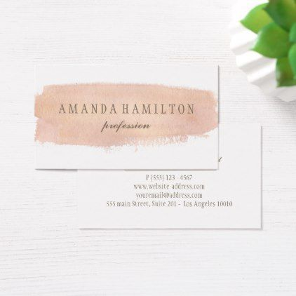 Girly Day Spa Salon Blush Pink watercolor splatter Business Card - professional gifts custom personal diy #LuxuryGifts