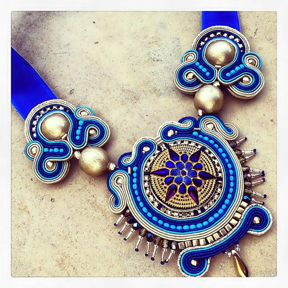 Ipanema soutache gold and sapphire necklace от AtelierMagia
