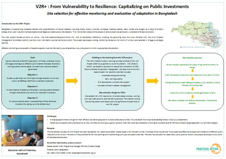 Practical Action: 'V2R+' - Capitalising on public investments, Bangladesh | This poster describes a project focussed on effective monitoring and evaluation of adaptation in Bangladesh.   The project focussed on unions, the most decentralised government unit in Bangladesh. It aimed to improve flood resilience in 17 flood-prone unions by use of weather forecasts, early warning systems, technical innovation and better disaster governance.  Contact: Sazzad Hossain Miah, programme manager, ddr…