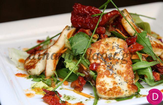 Δώστε στο τραπέζι σας μια διαφορετική νότα, σαλάτα με απολαυστικό χαλούμι και αρωματική βινεγκρέτ.  Καλή εβδομάδα....