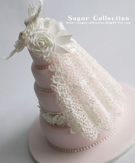 Best Cake Decorating Book Ever! http://www.amazon.com/gp/product/143918352X/ref=as_li_tl?ie=UTF8&camp=211189&creative=373489&creativeASIN=143918352X&link_code=as3&tag=alejanguerre-20&linkId=XJTFX462YWMZO4ZB - White with lace and birds #WeddingCakes