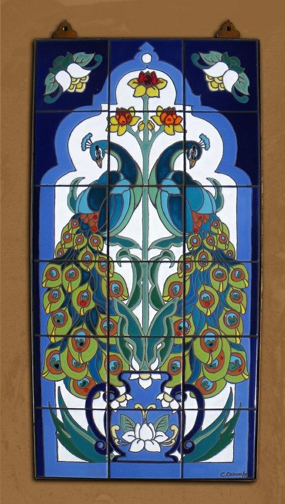 """Carly Quinn Designs (Tucson, AZ) / 18""""x36"""" Hand Glazed Tile Murals Approx. $600"""