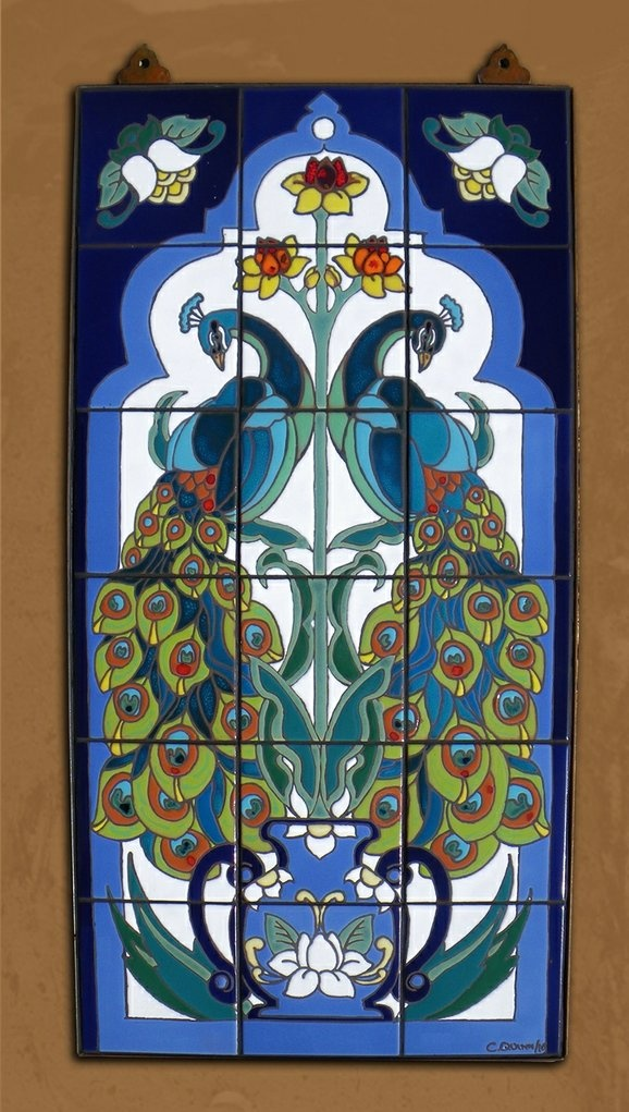 Carly quinn designs tucson az 18 x36 hand glazed for Art nouveau tile mural