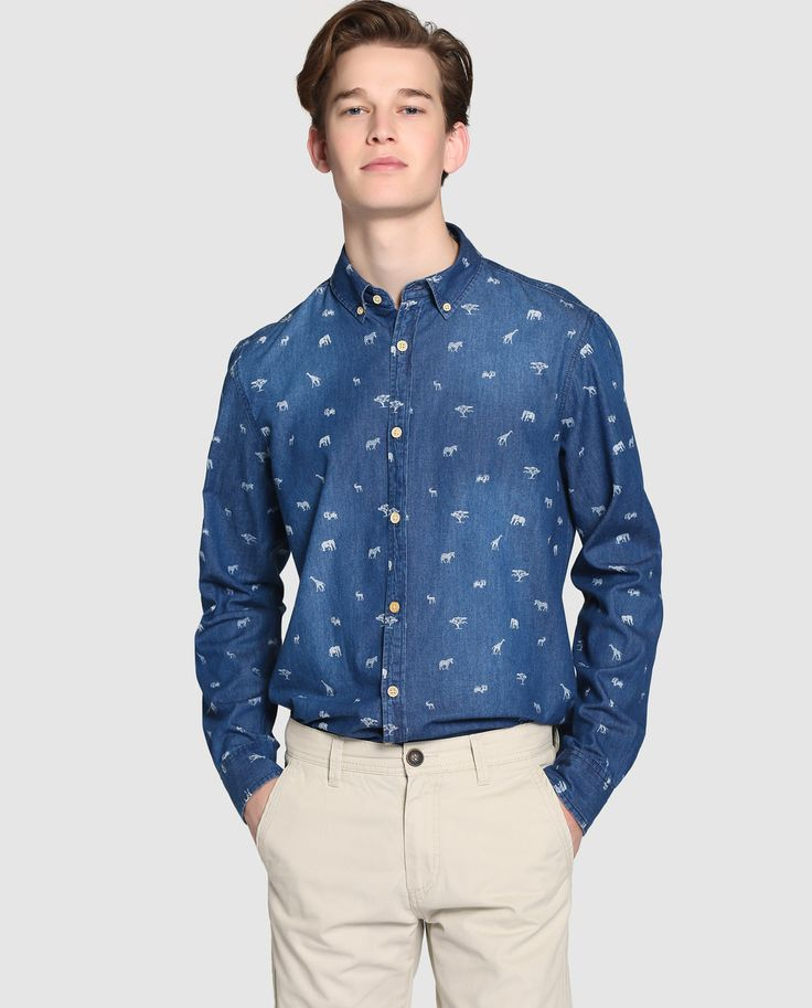 Camisa vaquera de hombre Easy Wear slim estampada azul